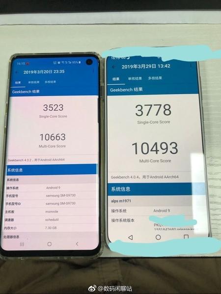 Meizu 16s в сравнении с Meizu 16th и Samsung Galaxy S10 на фото