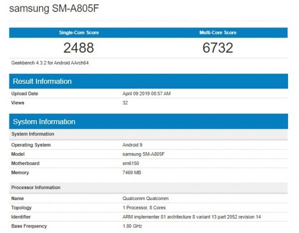 Samsung Galaxy A80 с чипом Snapdragon 675 заметили в Geekbench