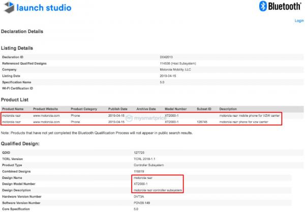 Складной смартфон Motorola Razr прошёл Bluetooth-сертификацию: выход устройства уже близко