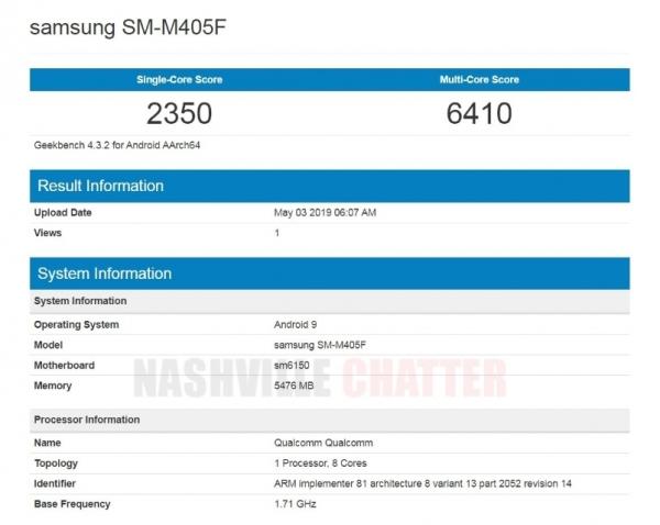 Бюджетный смартфон Galaxy M40 заметили в Geekbench с чипом Snapdragon 675