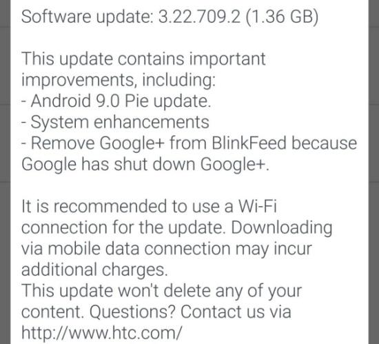 Флагман HTC U11 наконец-то получил обновление Android 9 Pie