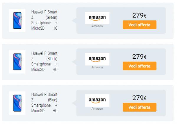 Huawei P Smart Z с выдвижной камерой появился на Amazon с ценником в 279 евро