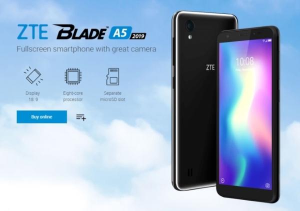 ZTE Blade A5 2019: ультрабюджетник с 5.45-дюймовым экраном 18:9 и восьмиядерным процессором за $100