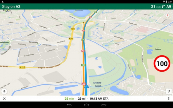 Приложение Google Карты получает спидометр