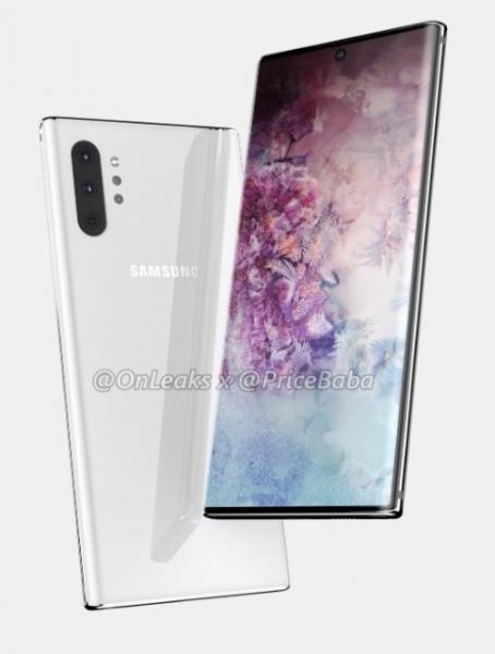 Samsung Galaxy Note 10 Pro на рендерах: основная камера с четырьмя модулями и дисплей Infinity-O