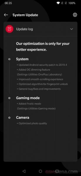 OnePlus 7 получил первое обновление системы: добавили игровой режим Fnatic Mode и поддержку DC Dimming