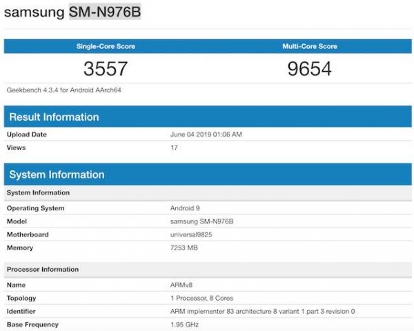 Две модели Samsung Galaxy Note 10 5G заметили в Geekbench с чипами Snapdragon 855 и Exynos 9825